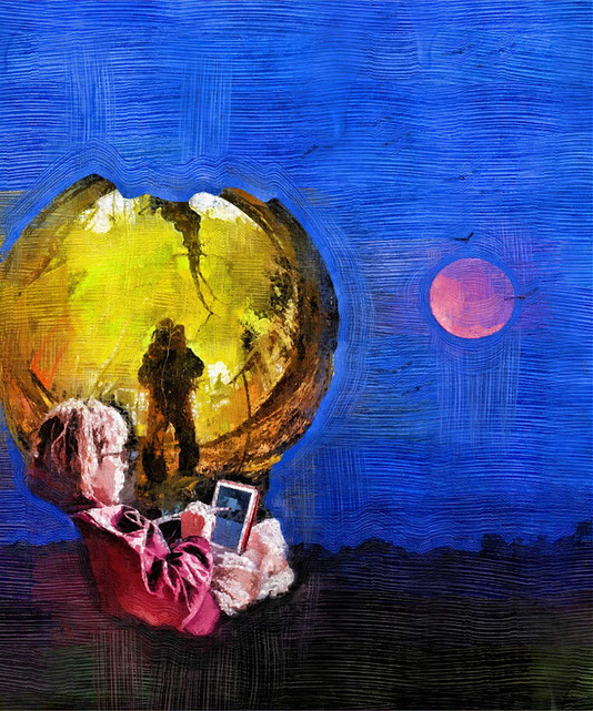 I am a dreamer reflected in a gazing globe, never far from the moon.